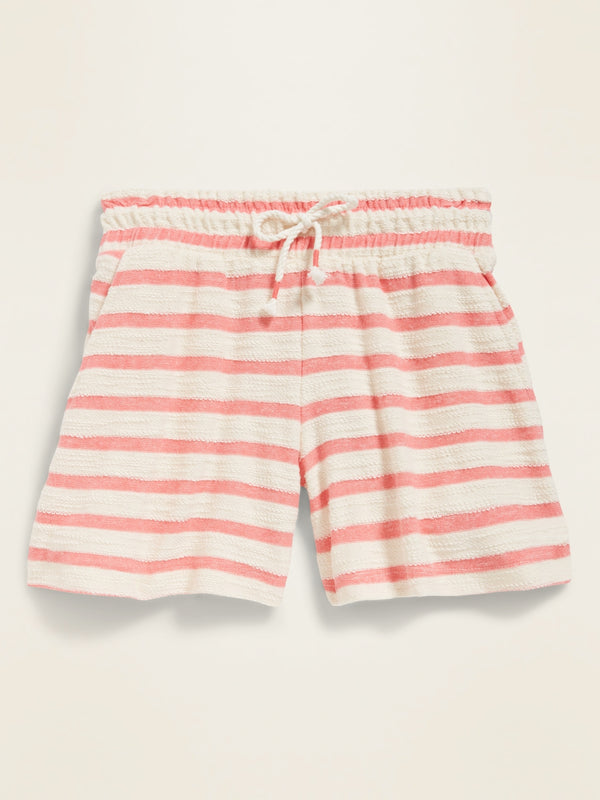 ON Loop-Terry Midi Shorts for Girls - Coral Rosa