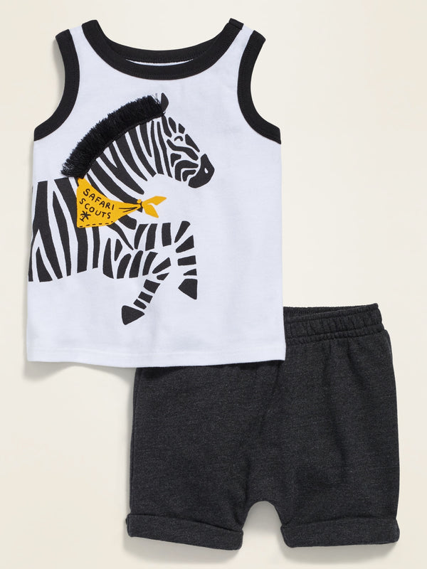 ON Pocket Tank Top & Cuffed Shorts Set For Baby - Zebra