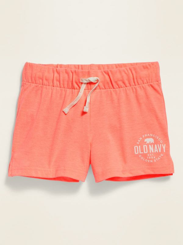 ON Drawstring Jersey Shorts For Girls - Melon Shock Neon Poly