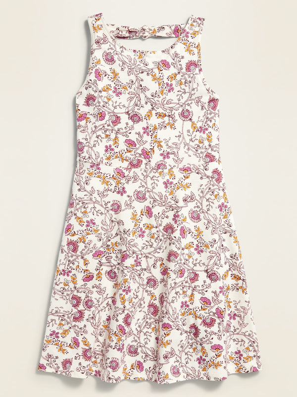 ON Fit & Flare Tank Dress For Girls - Khaki/Pink Floral