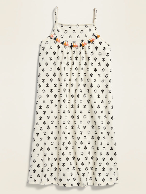 ON Printed Sleeveless Square-Neck Dress For Girls - Creme De La Creme