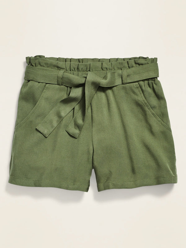 ON Paperbag-Waist Twill Shorts For Girls - Olive Through This