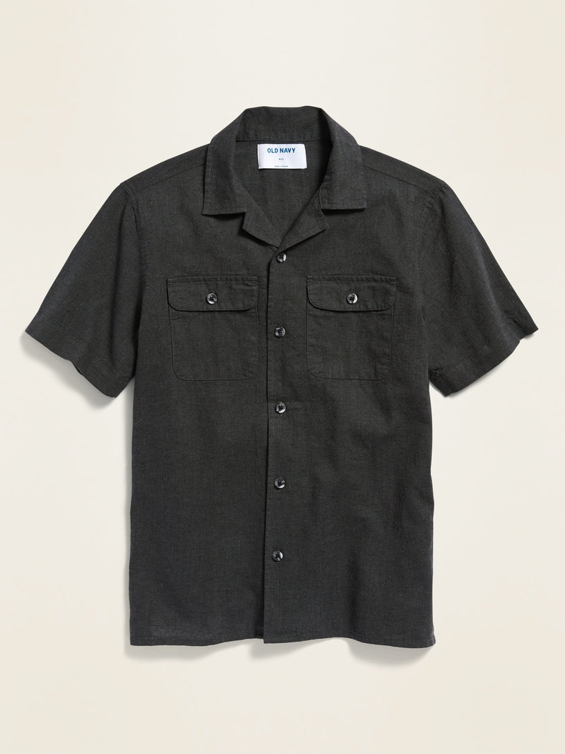 ON Linen-Blend Utility Camp Shirt For Boys - Panther