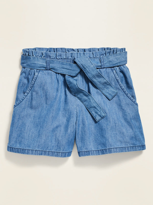 ON Paperbag-Waist Chambray Shorts For Girls - Chambray Blue W/Navy