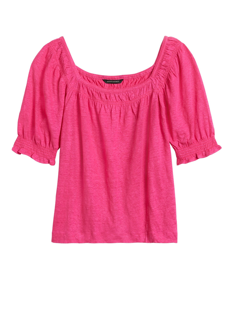 BR Linen Puff-Sleeve Top - Bright Magenta