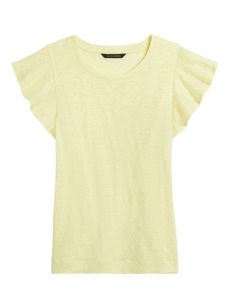 BR Linen Flutter-Sleeve Top - Lemon Lime