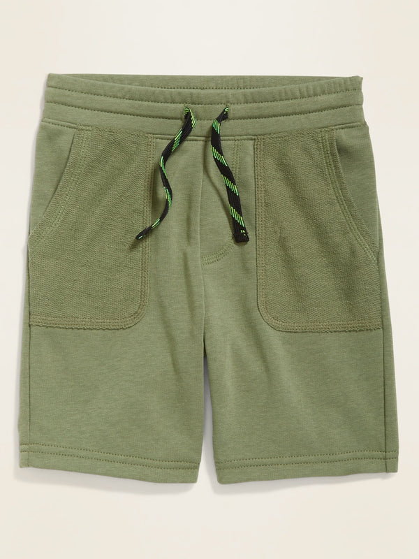 ON Functional-Drawstring French-Terry Shorts for Toddler Boys - Olive Through This