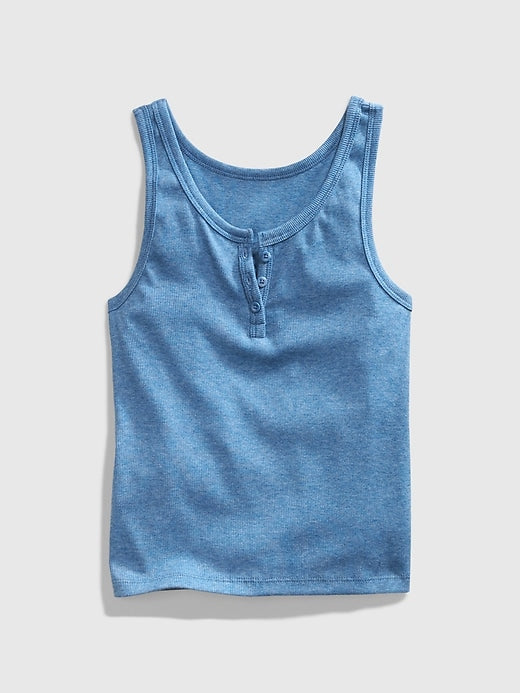 GAP Teen Ribbed Henley Tank Top - Azul