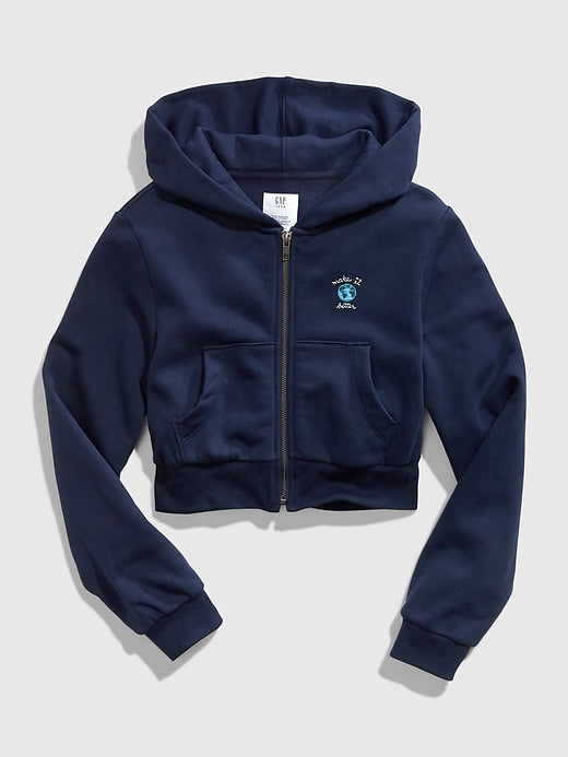 GAP Teen Crop Full-Zip Hoodie - Azul
