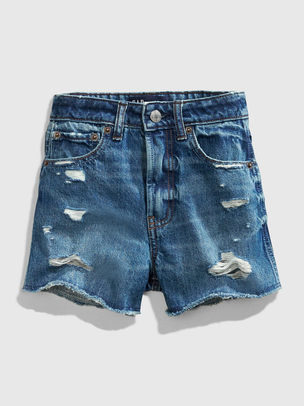 GAP Teen Distressed Medium Wash Denim Shorts - Medium Wash