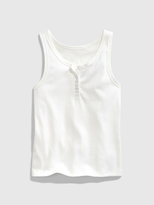 GAP Teen Ribbed Henley Tank Top - Blanco