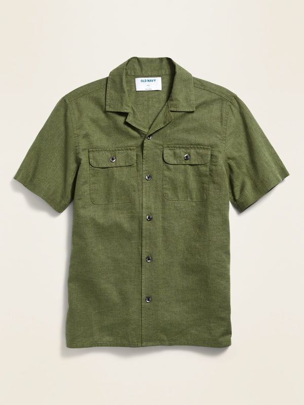 ON Linen-Blend Utility Camp Shirt For Boys - Olive Through This