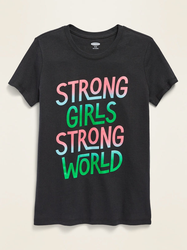 ON Graphic Crew-Neck Tee For Girls - Panther