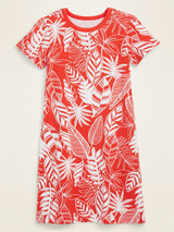 ON Fitted Crew-Neck Tee Dress For Women - Red Floral