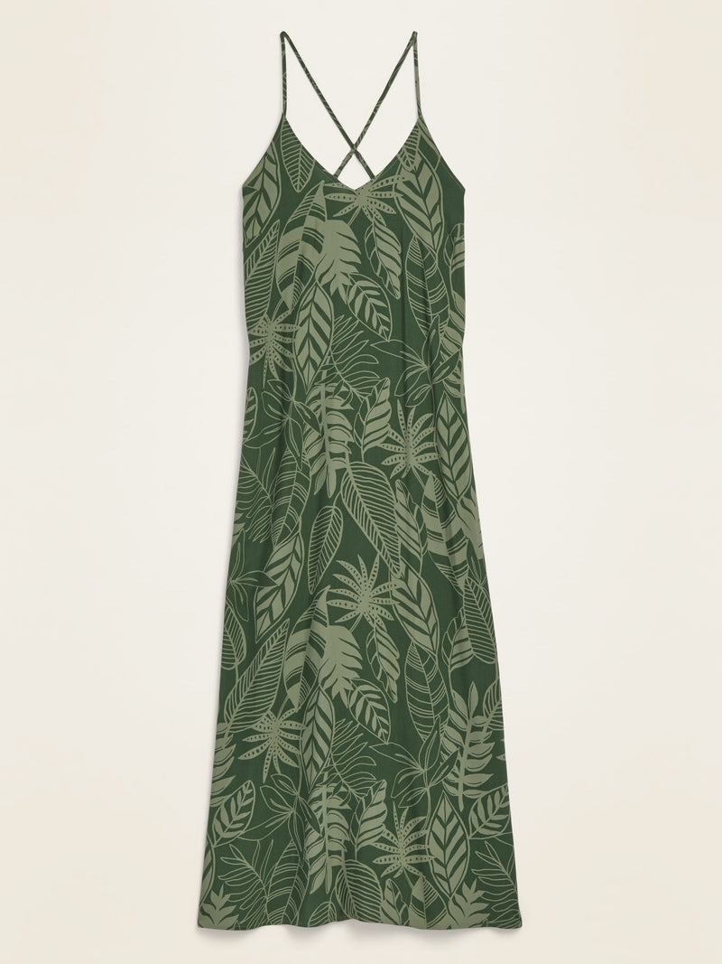 ON Sleeveless V-Neck Maxi Shift Dress For Women - Green Palm Leaf