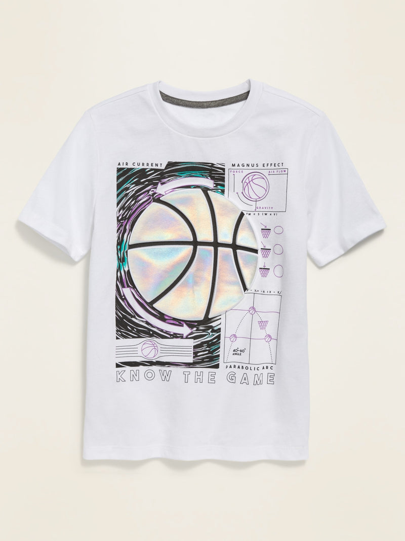 ON Visual-Effects Graphic Short-Sleeve Tee For Boys - Bright White
