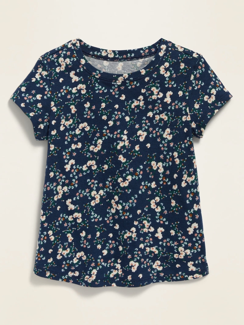 ON Printed Scoop-Neck Tee For Toddler Girls - Blue Ditsy Floral