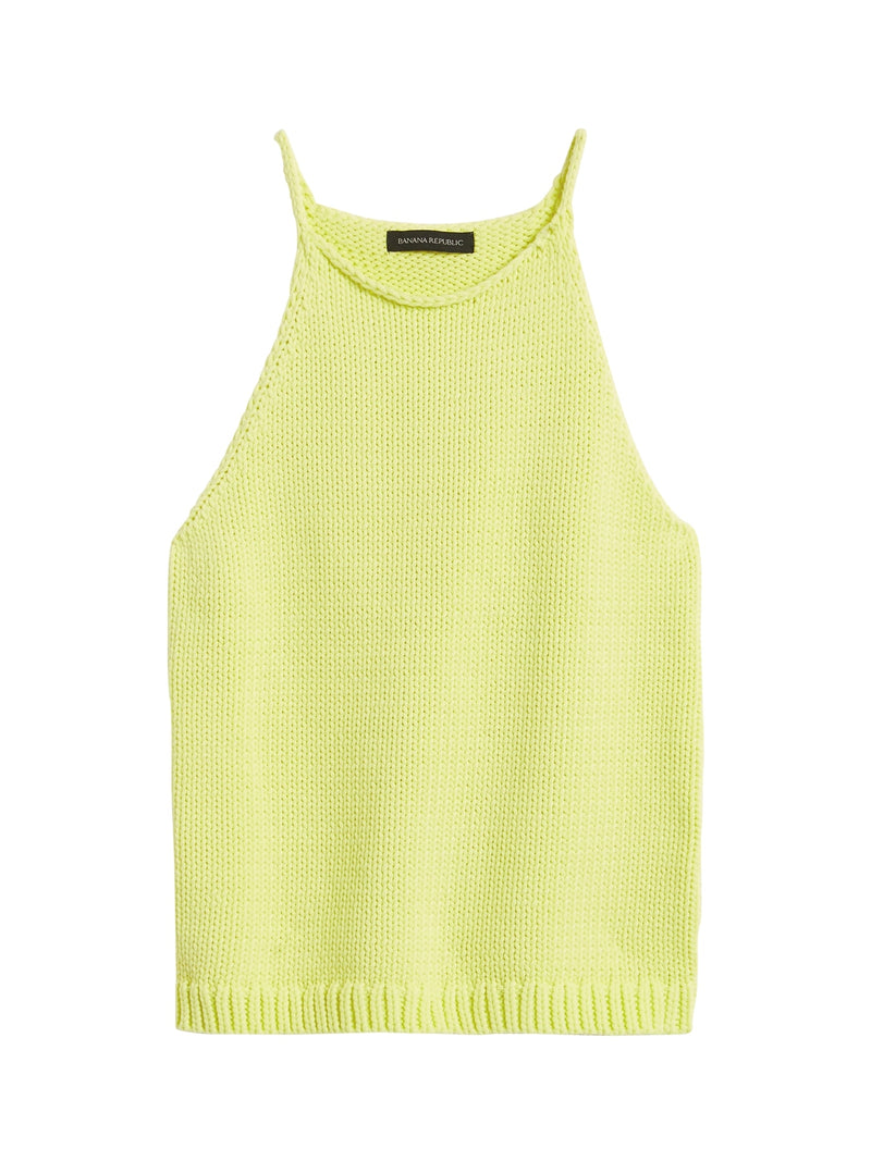 BR Halter-Neck Sweater Tank - Luminous Yellow