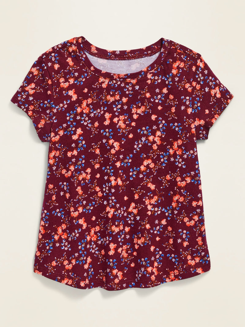 ON Printed Scoop-Neck Tee For Toddler Girls - Burgundy Ditsy Floral