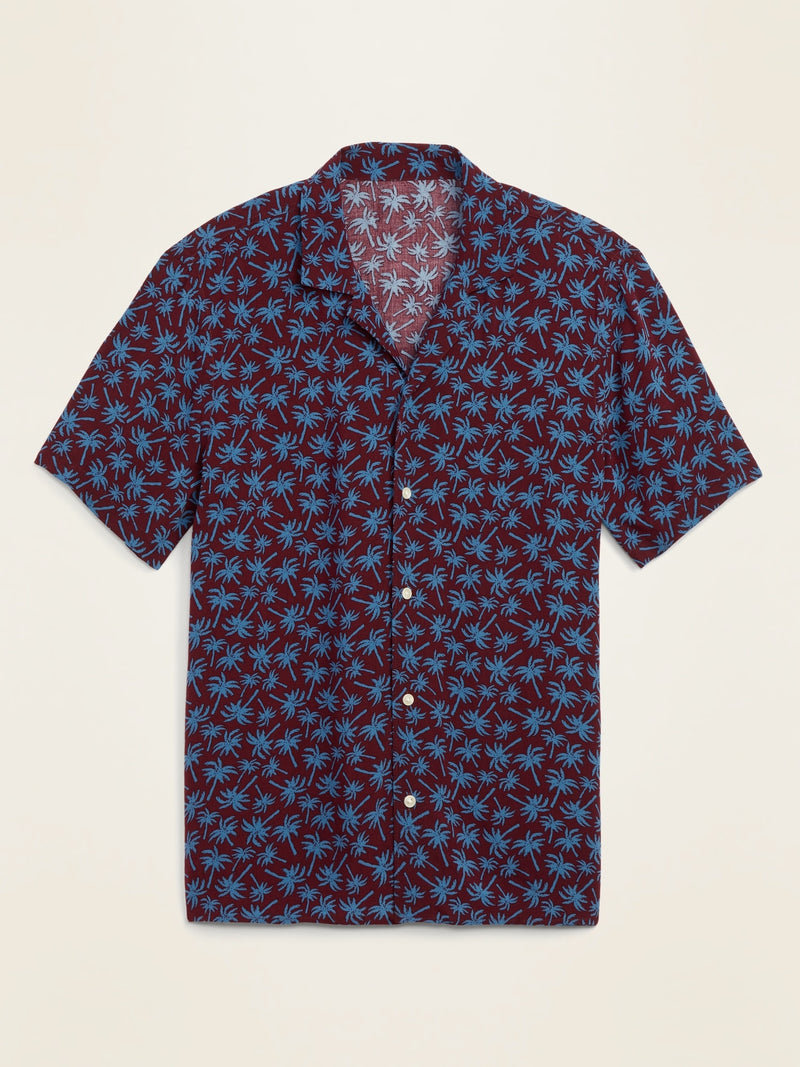 ON Relaxed-Fit Printed Short-Sleeve Camp Shirt For Men - Palm Beach Pink