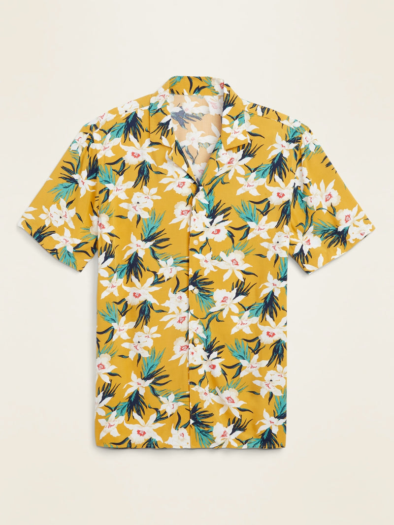 ON Relaxed-Fit Printed Short-Sleeve Camp Shirt For Men - Gold Print
