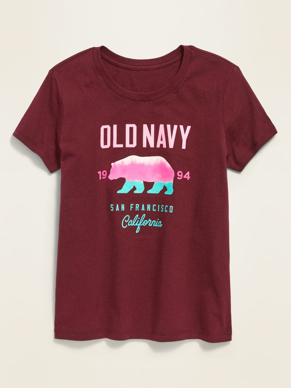 ON Logo-Graphic Crew-Neck Tee For Girls - Wine Stain