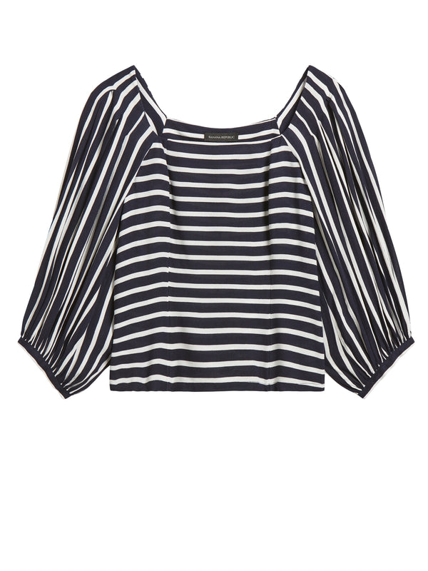 BR Button Back Top - Navy Stripe