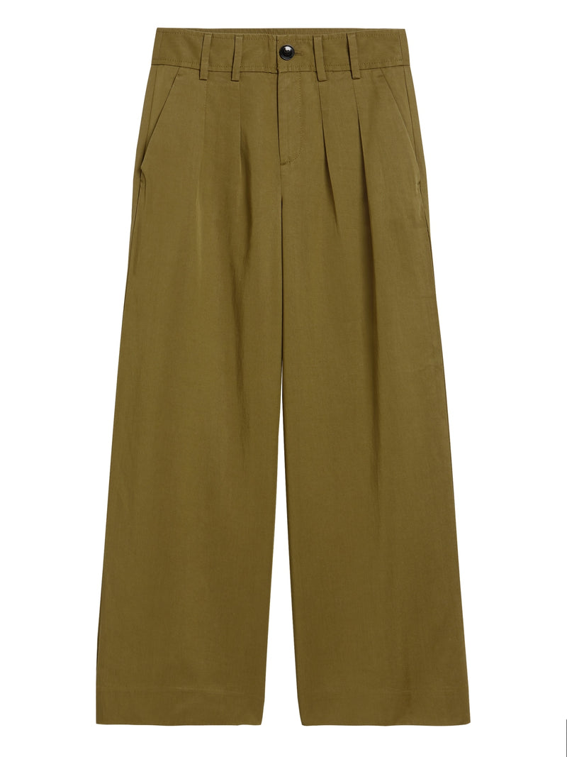 BR Petite High-Rise Wide-Leg Pleated Ankle Pant - Cindered Olive