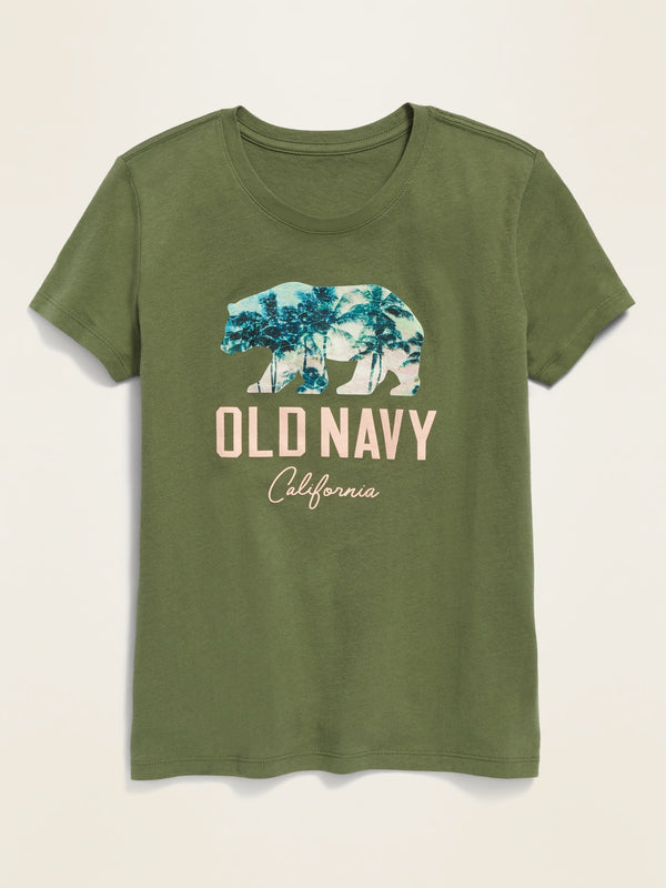 ON Logo-Graphic Crew-Neck Tee For Girls - Olive