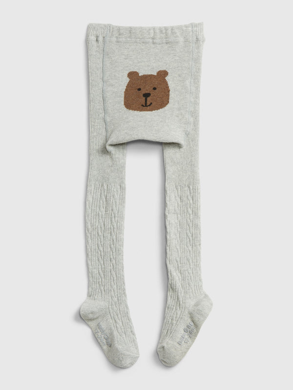 Gap Toddler Bear Cable Knit Tights - Grey Heather