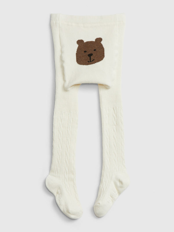 Gap Toddler Bear Cable Knit Tights - Ivory Frost