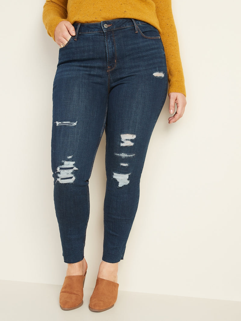 ON High-Waisted Distressed Rockstar Super Skinny Ankle Jeans For Women - Beach Tree Destroy