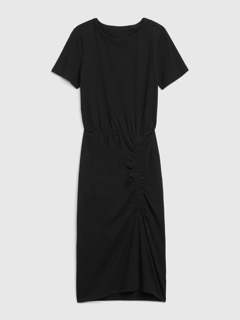 Gap Short Sleeve Ruched Midi Dress - Negro