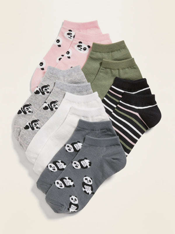 ON No-Show Printed Socks 6-Pack for Girls - Panda