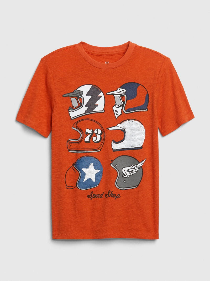 Gap Kids Interactive Graphic T-Shirt - Grenadine Orange
