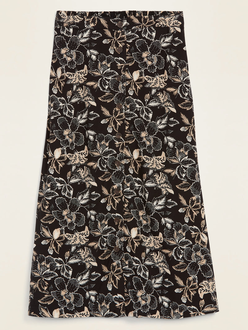 ON Soft-Woven Button-Front Midi Skirt For Women - Black Floral