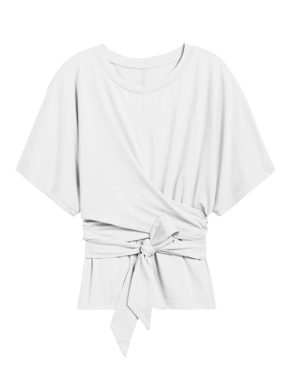 BR Petite Supima® Cotton Wrap Top - White