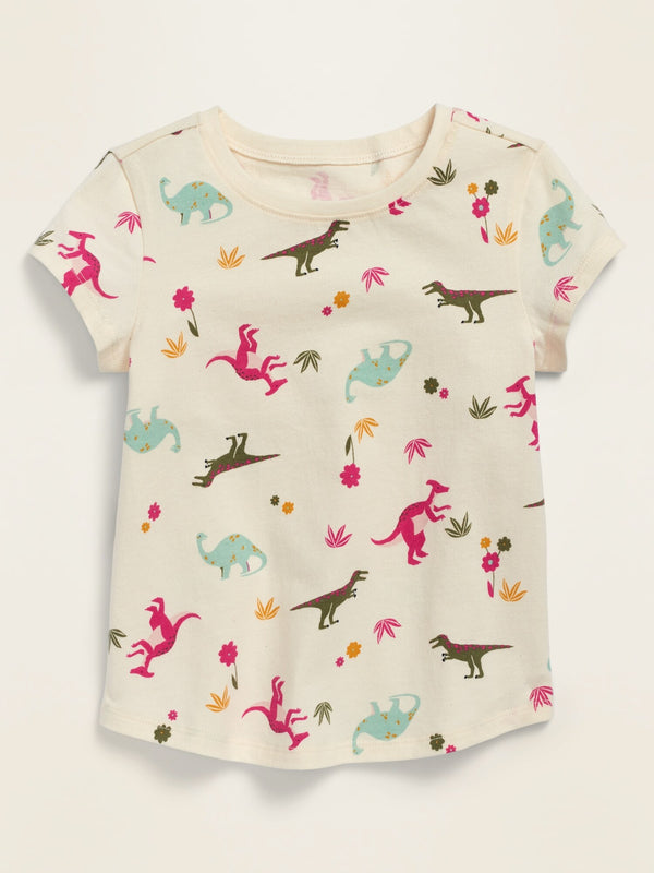 ON Printed Short-Sleeve Crew-Neck Tee for Toddler Girls - Green Dinosaurs