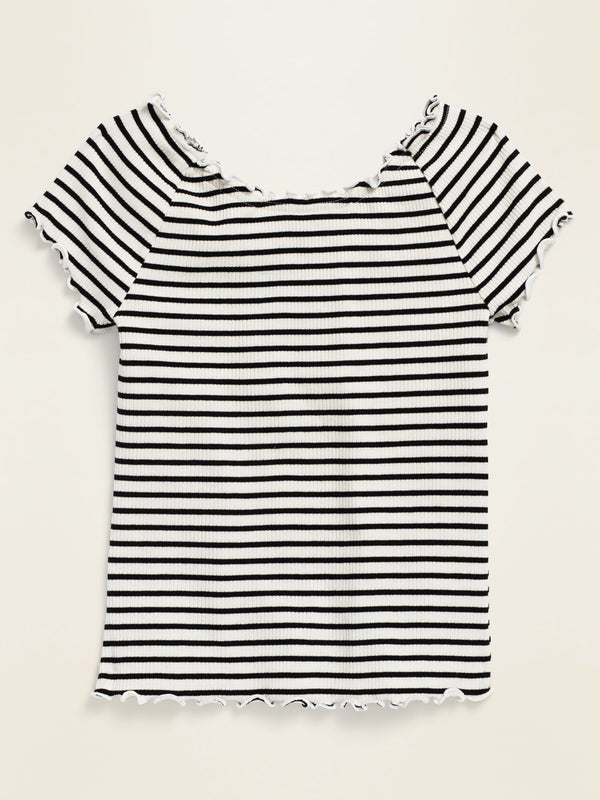 ON Striped Raglan-Sleeve Rib-Knit Lettuce-Edge Top for Girls - Black Stripes