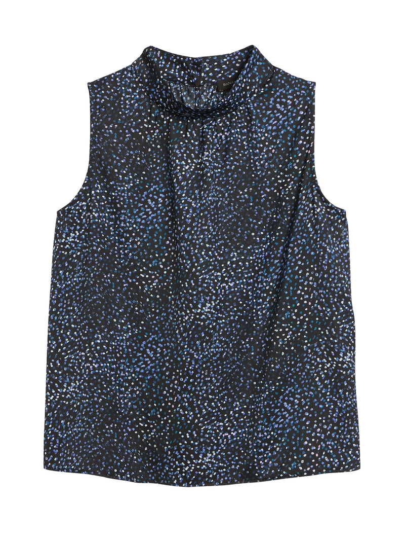 BR Mock-Neck Top - Navy Mini Dot