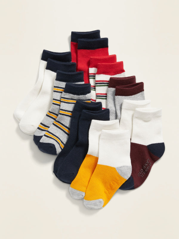 ON Unisex Striped Crew-Socks 8-Pack For Toddler & Baby - Bold Multistripe Top