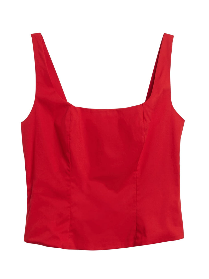BR Poplin Cropped Top - Ultra Red
