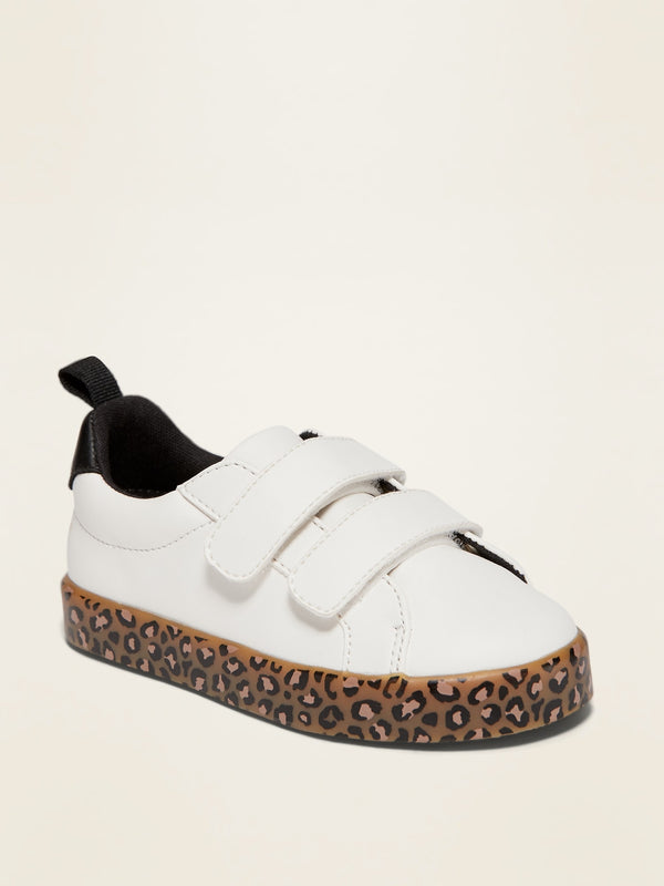 ON Faux-Leather Double-Strap Sneakers for Toddler Girls - Sea Salt