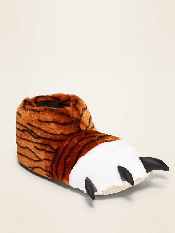 ON Gender-Neutral Faux-Fur Critter Slippers For Kids - Tiger