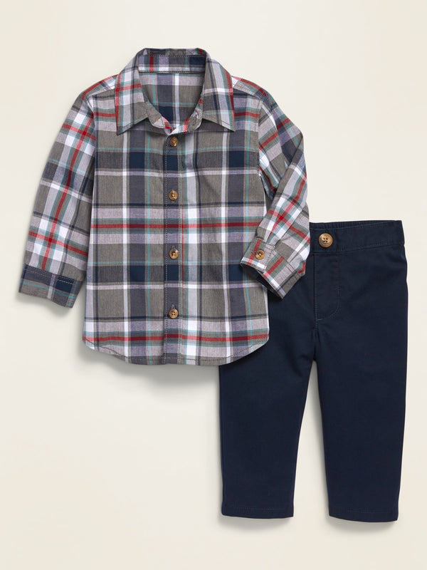 ON Printed Poplin Shirt & Twill Pants Set for Baby - Navy Plaid