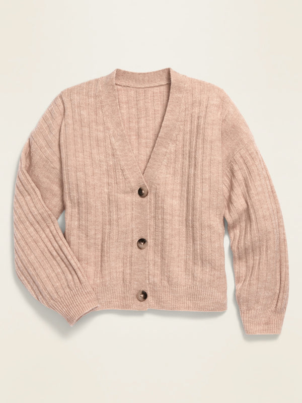 ON Cropped Button-Front V-Neck Cardigan for Girls - Oatmeal Heather