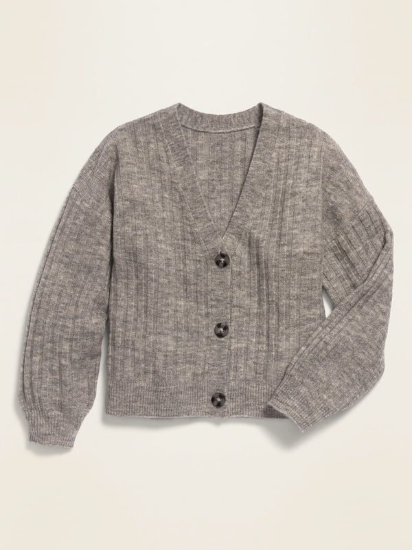 ON Cropped Button-Front V-Neck Cardigan for Girls - Grey Smoke