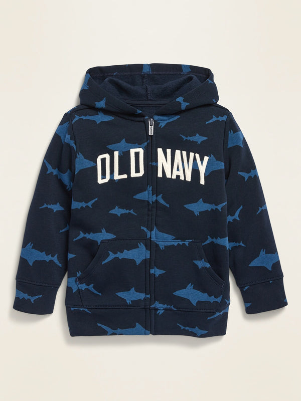 ON Unisex Logo-Graphic Zip Hoodie For Toddler - Blue Sharks