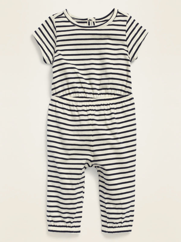 ON Printed Short-Sleeve Jersey Jumpsuit for Baby - Navy Stripe