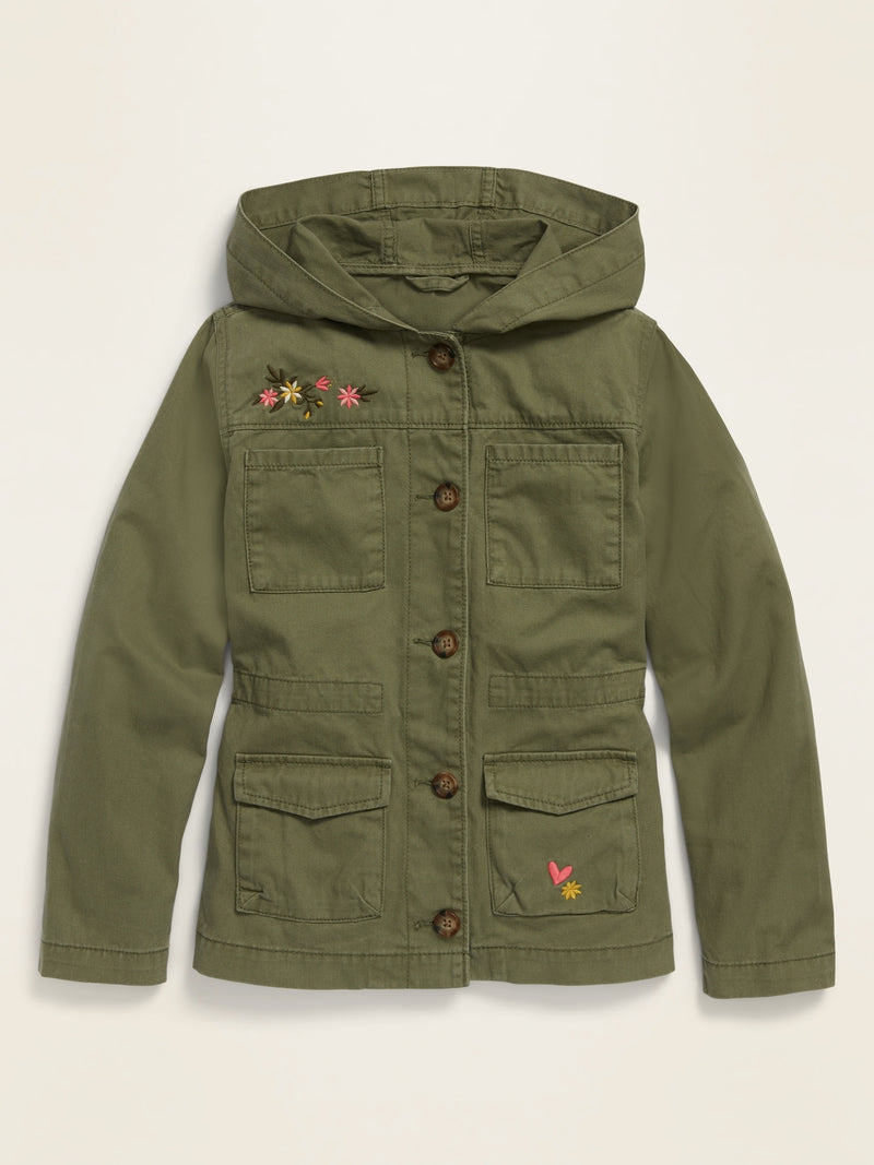 ON Hooded Twill Utility Jacket for Girls - Olive Through This